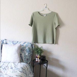 Danny & Nicole | Green Short Sleeve Blouse